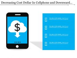 Decreasing Cost Dollar In Cellphone And Downward Arrow