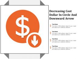Decreasing Cost Dollar In Circle And Downward Arrow