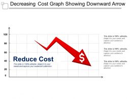 Decreasing Cost Graph Showing Downward Arrow