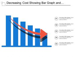 Decreasing Cost Showing Bar Graph And Downward Arrow