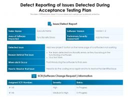 Defect Reporting Of Issues Detected During Acceptance Testing Plan