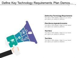 Define Key Technology Requirements Plan Demos Agenda Business Scenarios