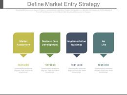 Define Market Entry Strategy Ppt Slides