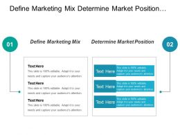 Define Marketing Mix Determine Market Position Marketing Budget