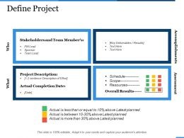 Define Project Stakeholders Management Ppt Show Infographic Template