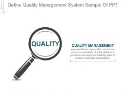 Define Quality Management System Sample Of Ppt