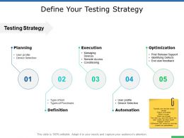 Define Your Testing Strategy Execution Ppt Powerpoint Presentation Ideas Format Ideas