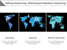 Defining Outsourcing Offshoring And Nearshore Outsourcing Ppt Icon