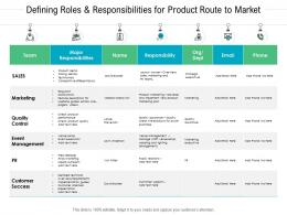 Defining Roles Responsibilities For Product Route To Market