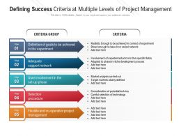 Defining Success Criteria At Multiple Levels Of Project Management