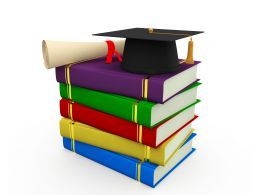 Degree With Graduation Cap Residing Above Books Stock Photo