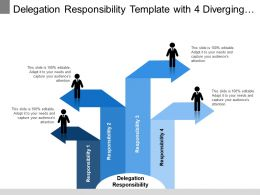 Delegation Responsibility Template With 4 Diverging Arrows