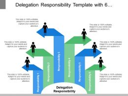Delegation Responsibility Template With 6 Diverging Arrows