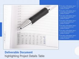 Deliverable Document Highlighting Project Details Table