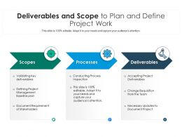 Deliverables And Scope To Plan And Define Project Work
