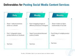 Deliverables For Posting Social Media Content Services Ppt Powerpoint Presentation Visual Aids