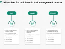 Deliverables For Social Media Post Management Services Ppt Powerpoint Presentation Ideas Graphics