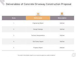 Deliverables Of Concrete Driveway Construction Proposal Ppt Powerpoint Presentation Visual Aids