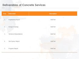 Deliverables Of Concrete Services Ppt Powerpoint Presentation Pictures Master Slide