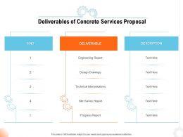 Deliverables Of Concrete Services Proposal Ppt Powerpoint Presentation Infographics Slide Download