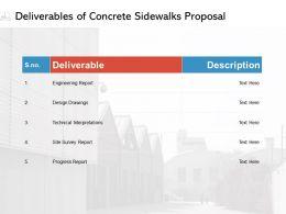 Deliverables Of Concrete Sidewalks Proposal Ppt Powerpoint Presentation Graphics