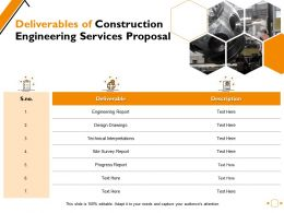 Deliverables Of Construction Engineering Services Proposal Ppt Powerpoint Presentation File Elements