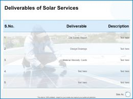 Deliverables Of Solar Services Ppt Powerpoint Presentation Gallery Tutorials