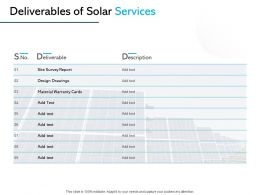 Deliverables Of Solar Services Ppt Powerpoint Presentation Show Outfit