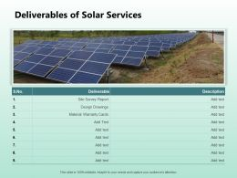 Deliverables Of Solar Services Ppt Powerpoint Presentation Styles Summary