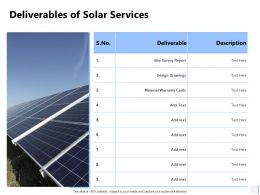 Deliverables Of Solar Services Warranty Ppt Powerpoint Presentation File Guidelines