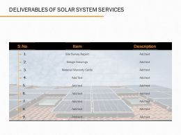Deliverables Of Solar System Services Ppt Powerpoint Presentation Icon Pictures