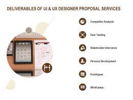 Deliverables Of UI And UX Designer Proposal Services Ppt Powerpoint Presentation File Smartart