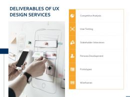 Deliverables Of UX Design Services Ppt Powerpoint Presentation Professional Example