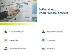 Deliverables Of UX UI Proposal Services Ppt Powerpoint Presentation Maker