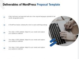 Deliverables Of WordPress Proposal Template Ppt Powerpoint Presentation Styles Diagrams