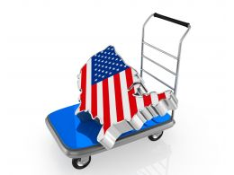 Delivering Trolley With Map Piece Of America Stock Photo
