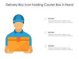 Delivery Boy Icon Holding Courier Box In Hand