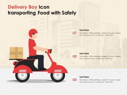 Delivery Boy Icon Transporting Food With Safety