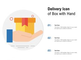 Delivery Icon Of Box With Hand