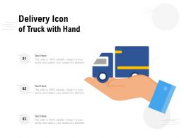 Delivery Icon Of Truck With Hand