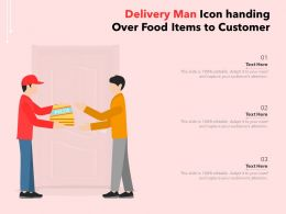 Delivery Man Icon Handing Over Food Items To Customer