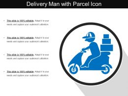 Delivery Man With Parcel Icon
