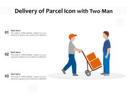 Delivery Of Parcel Icon With Two Man