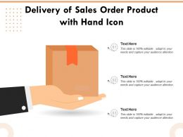 Delivery Of Sales Order Product With Hand Icon