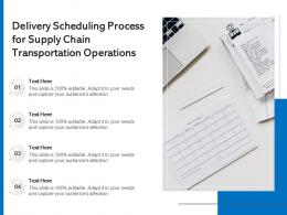 Delivery Scheduling Process For Supply Chain Transportation Operations