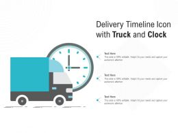 Delivery Timeline Icon With Truck And Clock