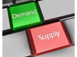 Demand And Supply Keys On Keyboard Stock Photo