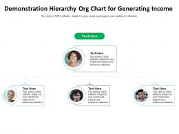 Demonstration Hierarchy Org Chart For Generating Income Infographic Template
