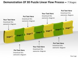 Demonstration Of 3d Puzzle Linear Flow Process 7 Stages Work Chart Powerpoint Slides