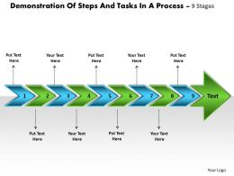 Demonstration Of Steps And Tasks In Process 9 Stages Draw Flow Charts Powerpoint Slides